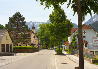 Street in center in town of Hinterstoder, Austria