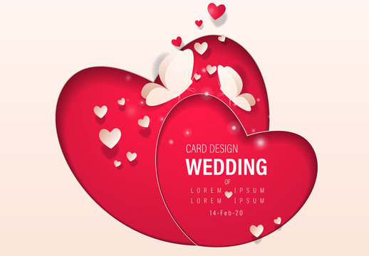 Red Heart Wedding Banner Layout