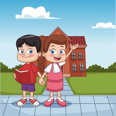 Kids outside school building on sunny day vector illustration graphic design