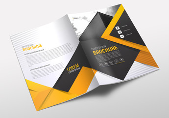 Business Brochure Cover Layout with Orange Accents