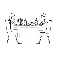 young women sitting on chairs with round table pop corn soda nachos vector illustration vector illustration sketch design