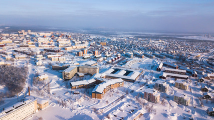 Aerial winter view of Kiruna, the northernmost town in Sweden, province of Lapland, winter sunny picture shot from drone