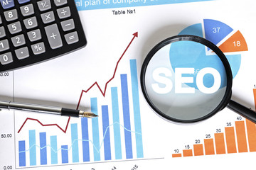 Wall Mural - Business search loupe magnifier seo chart web diagram.