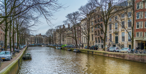 Amsterdam, The Netherlands, March 10th 2018: overlook of a canal, the Keizersgracht, in the centre of Amsterdam