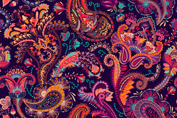 Fotobehang Botanisch Colorful Paisley pattern for textile, cover, wrapping paper, web. Ethnic vector wallpaper with decorative elements