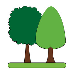 Isolated trees cartoon vector illustration graphic design