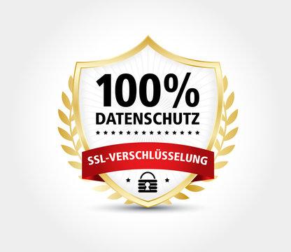 Datenschutz SSL Gold Wappen