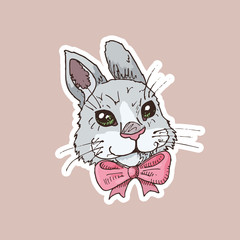 Hand drawn sticker with funny rabbit with pink bow tie. Children illustration. Cartoon character. Easter symbol.