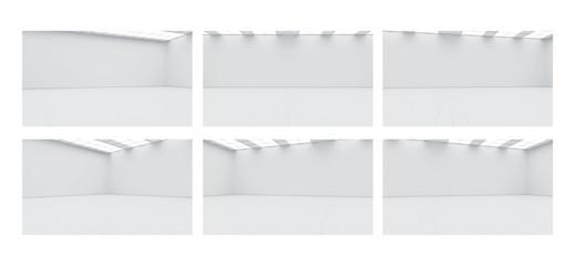 Empty big gallery wall mockups, with nobody, 3d rendering. Museum mock ups with blank corridor. White clear lobby. Display artwork presentation. Art design empty floor. Expo studio in loft corridor.