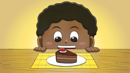 Close-up illustration of a black boy staring at a cake slice on the table.