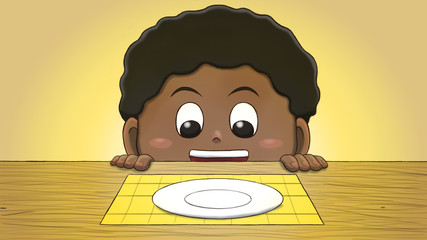 Close-up illustration of a black boy staring at an empty plate on the table.