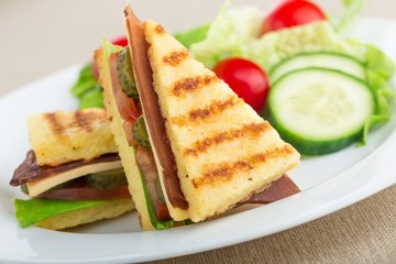 Fresh appetizing sandwich with vegetables
