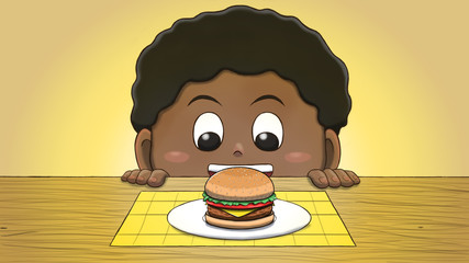 Close-up illustration of a black boy staring at a hamburger on the table.