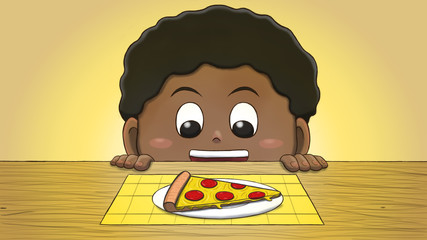 Close-up illustration of a black boy staring at a pizza slice on the table.