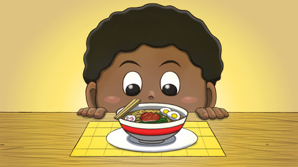 Close-up illustration of a black boy staring at a ramen on the table.