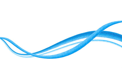 Watercolor hand painted brush strokes. Abstract blue lines background. Vivid aquarelle waves. Sea pattern.