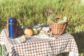 Fotobehang Picknick Appetite sandwiches, thermos bottle and basket with fresh fruits on table on the grass