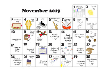 November 2019 Quirky Holidays and Unusual Events