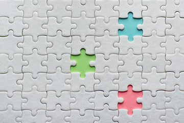 Wall Mural - white details of puzzle on colored background