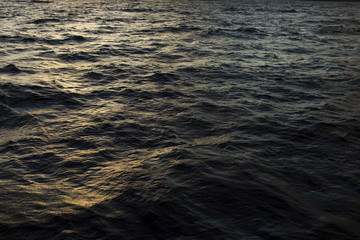 High angle view of rippled waves on sea during sunset