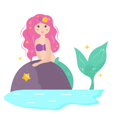 Cute cartoon mermaid with yellowhair.