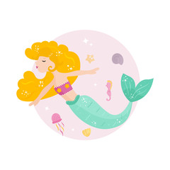 Cute cartoon mermaid with yellowhair.