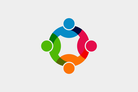 Teamwork Social Network Logo. Vector Graphic Illustration