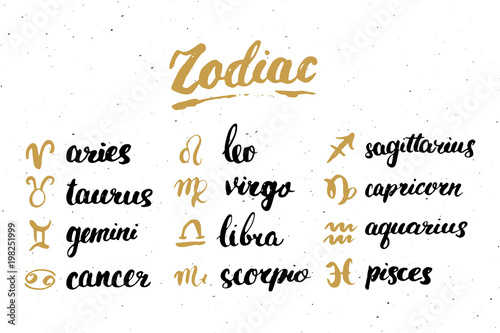 Zodiac signs set and letterings  Hand drawn horoscope astrology