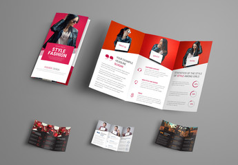 4 Trifold Brochures with Diagonal Design Elements