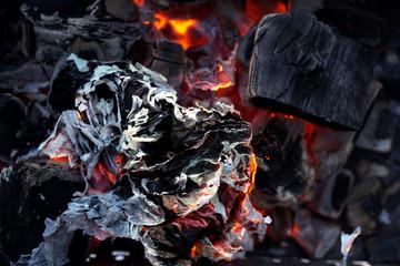 Smoldering coal close-up.