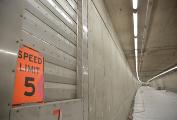 A speed-limit sign for workers is pictured during a media tour of the double deck State Route 99 highway tunnel under construction in Seattle