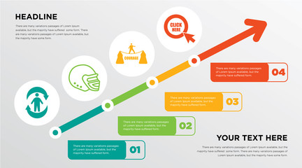 good health, football helmet, courage, click here growing horizontal presentation design template in green, red and yellow, grow up business infographics with icons