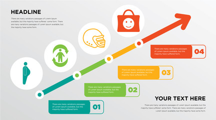 obesity, good health, football helmet, happy customer growing horizontal presentation design template in green, red and yellow, grow up business infographics with icons