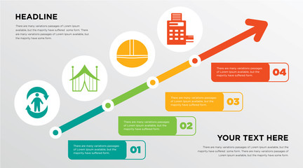 good health, marquee, hardhat, pos growing horizontal presentation design template in green, red and yellow, grow up business infographics with icons