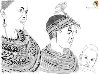 Samburu family portrait sketch