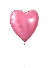 Single big red heart balloon object with smile for birthday or valentines day