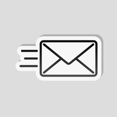 send mail icon. sms line. Sticker style with white border and simple shadow on gray background