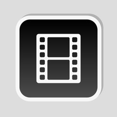 tv with movie strip. Sticker style with white border and simple shadow on gray background