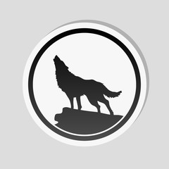 wolf. simple icon. Sticker style with white border and simple shadow on gray background
