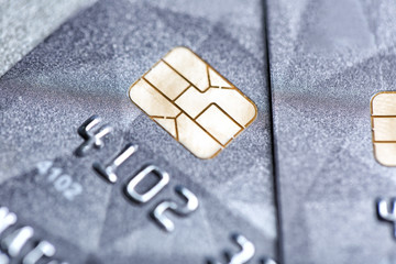 Credit card with chip, closeup