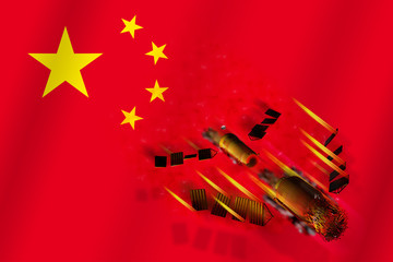 3D model of  China's Tiangong-1 space station disintegrating upon entering the Earth's atmosphere with the flag of China in the background. 3D rendering