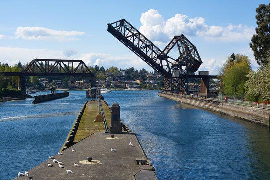 The open railroad bridge at the Ballard Locks, Seattle, WA, USA.