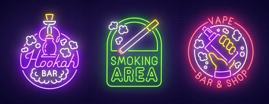 Big set neon sing. Smoke, Vape and Hookah bar . Smoking banner, logo, emblem and label. Bright signboard, light banner. Vector illustration