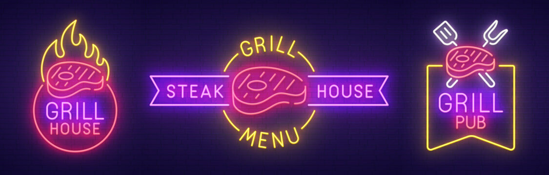 Big set neon sing. Grill house label and logo. Grill pub banner, logo, emblem and label. Bright signboard, light banner. Vector illustration
