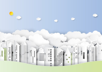 Ecology and environment conservation concept.Cityscape and urban forest nature landscape paper art style.Vector illustration.