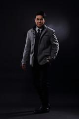 Full Length Snap Figure, Business Man Stand in gray coat white shirt black pants,