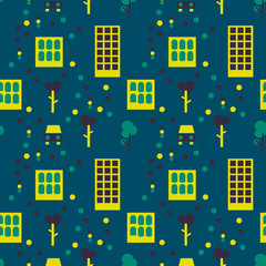 City life seamless pattern. Suitable for screen, print and other media.