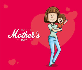 Cheerful mother with jeans, carrying her happy son, next to a text of mothers day. Vector illustration on red background with hearts