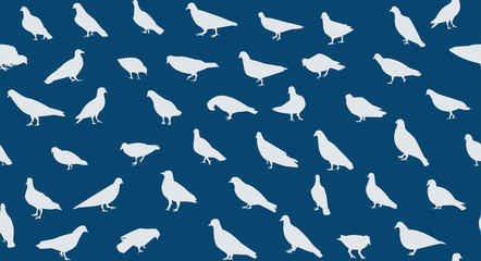 Seamless pigeons pattern in silhouette, vector art