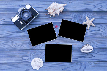 camera, photo paper, seashells. journey. recreation. holiday.